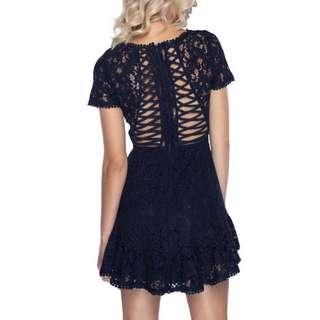 BNWT Pilgrim Silly Love Navy Dress Size 6 RRP $170 FORMAL DRESS XS