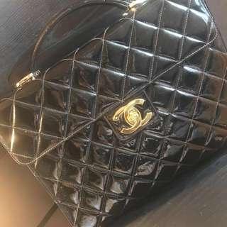 中古二手日本 100% Authentic Classic Chanel漆皮 絕版公事包 手拎側揹 100% Real 有卡有貼 BC品
