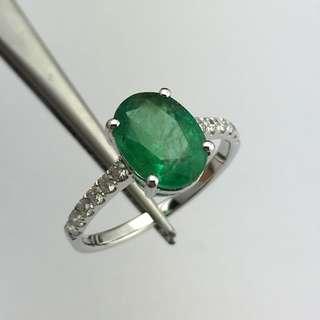 18K白金戒指 2卡3份綠寶 22份鑽石  18K Withe gold Ring 2.03ct Emerald 0.22ct Diamond 可議價