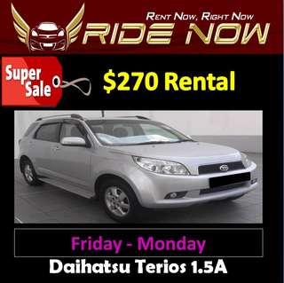 $270 Daihatsu Terios 1.5A Weekend SALE