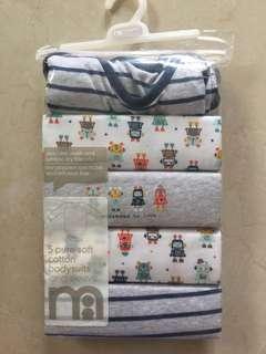 Mothercare Bodysuits Long Sleeve 5pcs