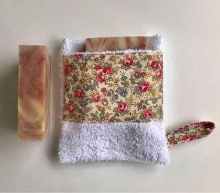 Handmade 2x orange clay soap and 1x soap pouch