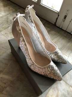 Velvet Silver Heels