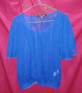 FOREVER21 Ruffle Blue Blouse