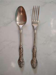 Sendok Garpu Antik, bahan Silver Nikel