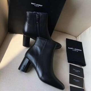 YSL Betty 95 Ankle Boots In Black Leather (Preorder)