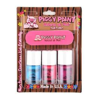 Piggy Paint Water-Based Non-toxic Natural Nail Polish and File Kit (Sea-quin, Forever Fancy, Girls Rule)