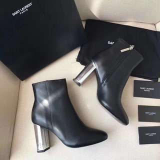 YSL Black leather boots and silver tone heels (Preorder)