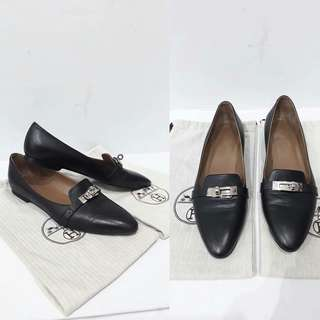 Hermes black kelly Loafer flats