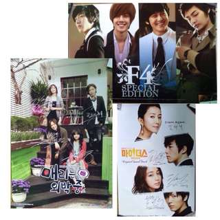 Official poster set - Korean drama Boys over Flower Midas Mary Stayed out All Night - lot of 3 posters - tag jang geunsuk lee minho kimbum no minwoo printed autograph