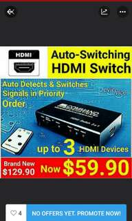 AUTO HDMI Switches - Automatically Routes 3 X HDMI Devices to your HD TV.  Good for elder family members or children  who are not techies.USA PDT by Command Comnunications Inc.   Usual Price: $129.90 Special Offer:$ 59.90+ Free Mail Postage