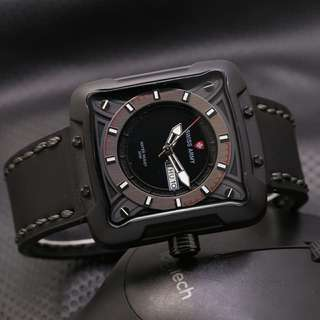 Swiss Army Date Square Leather