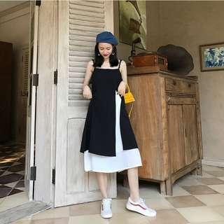 VM 2018夏 性感抹胸露背 假兩件式小香風 氣質 黑白撞色 吊帶連身裙