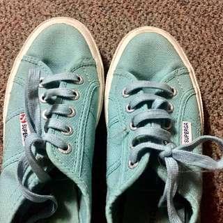 Superga mint rubber shoes