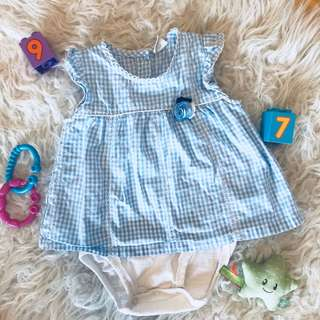 🌺Tiny Button Blue Baby dress 3-6m
