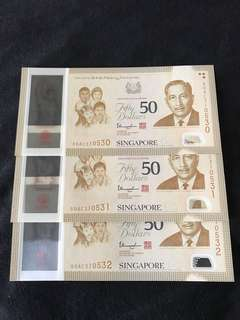 SG50 Commemorative $50 With 3 Run