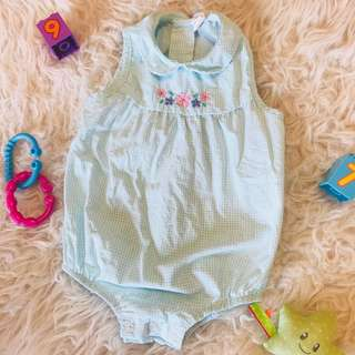 🌺Tiny Button Green Baby Romper 3-6m