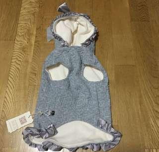 🚚 狗狗衣服 灰色厚棉 可愛緞面