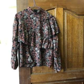 韓版復古高領碎花多層次襯衫