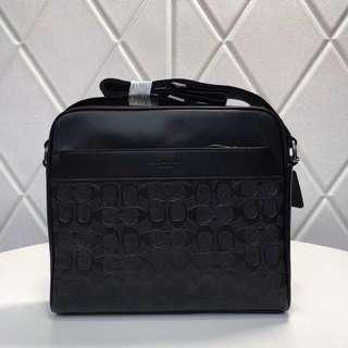 Coach men's leather sling bag black