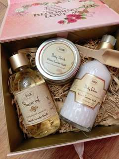 BNIB SABON BODY SCRUB, LOTION & OIL GIFT SET