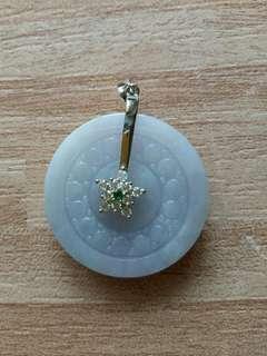 🚚 天然翡翠紫羅蘭雕刻平安扣