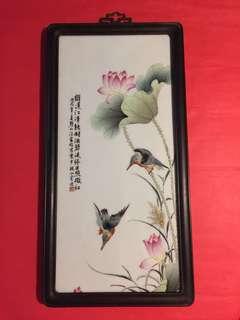精緻景徳鎮瓷版畫:[高級工藝師汪家旺作品(荷趣)]:如相片所示