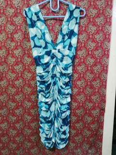 Aqua leaf printed stretch dress