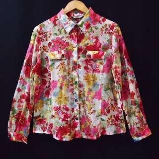 Kemeja Blouse Floral Vintage