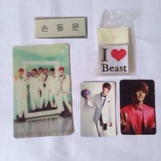 B2ST BEAST official photocard holo mirror photo card set sticker set hangul name tag son dong woon