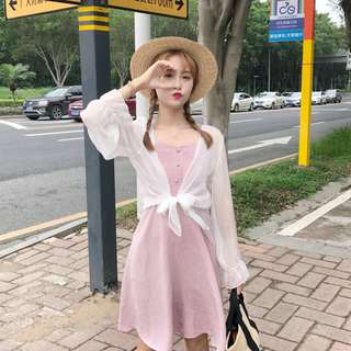 Women Plaid Sleeveless Dress Sun Protection Cardigan Female Chic Fashion Dress [Green/Pink]