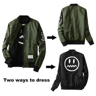 Wind Breaker Men Jacket Both Side Wear Bomber Jacket Coat