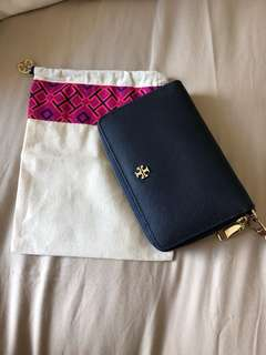 Tory Burch Wallet (dark blue) including dust bag 80% NEW