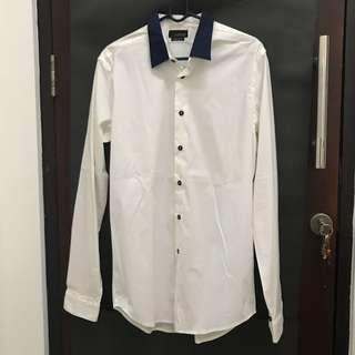 ZARA Shirt Kemeja White Putih Blue Collar Kerah Biru
