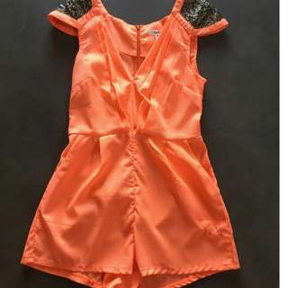 Coral Playsuit Romper with Sequin Shoulders Size AU 8