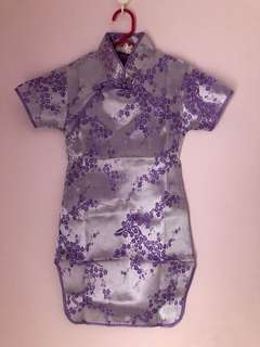Kid's purple floral cheongsam