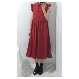 。error dot。娜坦利的晚宴荷葉花邊袖暗紅洋裝