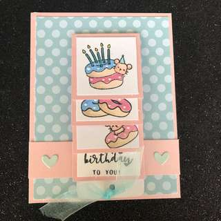 Doughnut waterfall birthday card