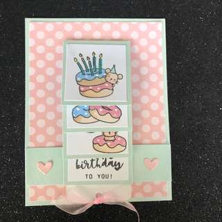 Doughnut waterfall birthday card pink and blue