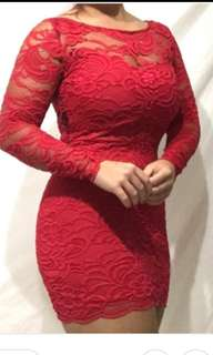 H&M Red Bodycon Mini Dress ( Size 42 but could fit M to L)