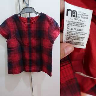 Mothercare brand new plaid top