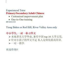 Chinese Tuition, Primary Chinese, Secondary/Adult