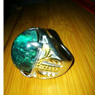 Natural Tael Blue Agate Ring. Size 9. No Fake. Natural Gemstone Agate. Garut.