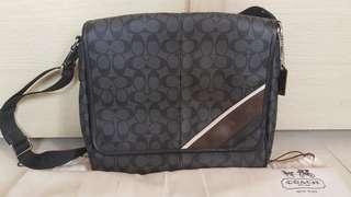 100% Authentic Coach Heritage Stripped Signature Messenger/Shoulder Bag