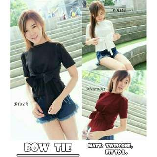 BLOUSE BOW TIE BAHAN TWISTCONE ALLSIZE FIT TO L(BELAKANG ADA KANCING)