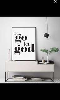 Let go Let GOD art print home decor