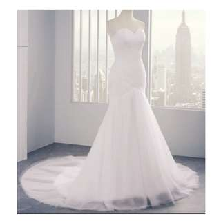 Tulle mermaid wedding dress white/ivory gown