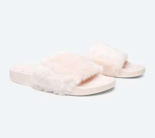 Aldo marresse pink fur slides