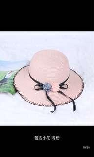 海灘帽 遮陽帽 粉色小花包邊款 全新