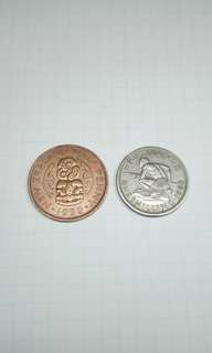 New Zealand Coins old currency half penny shilling